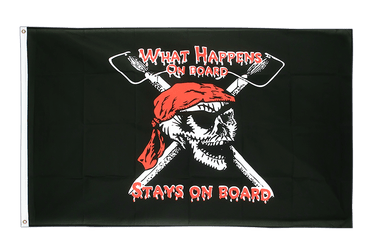 Drapeau Pirate What happens on board stays on board 90 x 150 cm