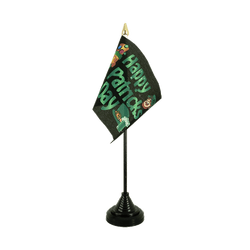 Happy Saint Patrick's Day St Patrick's Black Table Flag 4x6""