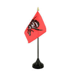 Mini drapeau de table Pirate rouge 10 x 15 cm