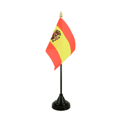 Spain with crest Table Flag 4x6""