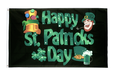 Happy Saint Patrick's Day St Patrick's Black 2x3 ft Flag