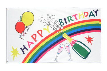 Drapeau pas cher Happy Birthday - 60 x 90 cm