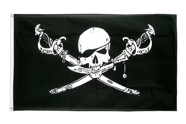 Grand drapeau Pirate avec sabre 150 x 250 cm