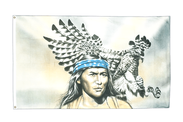Indian with eagle 3x5 ft Flag