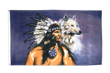 Indian with wolf - 3x5 ft Flag