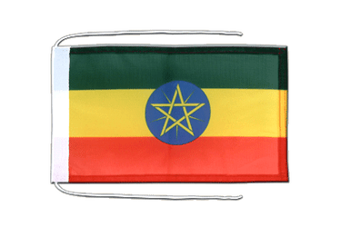 Ethiopia with star - Flag with ropes 8x12""