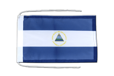 Nicaragua - Flag with ropes 8x12""
