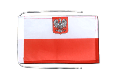 Poland with eagle - Flag with ropes 8x12""
