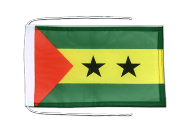 Sao Tome and Principe - Flag with ropes 8x12""