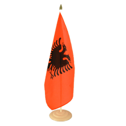 "Albania Large Table Flag 12x18"", wooden"