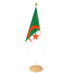 Grand drapeau de table Algerie en bois 30 x 45 cm