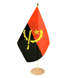 "Angola Large Table Flag 12x18"", wooden"