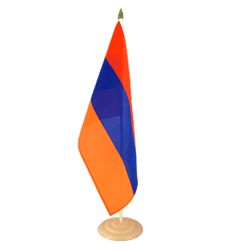 "Armenia Large Table Flag 12x18"", wooden"