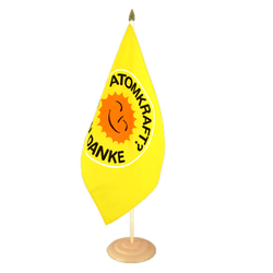 "Atomkraft Nein Danke - Large Table Flag 12x18"", wooden"