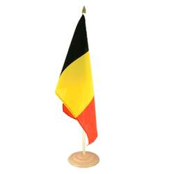 "Belgium Large Table Flag 12x18"", wooden"