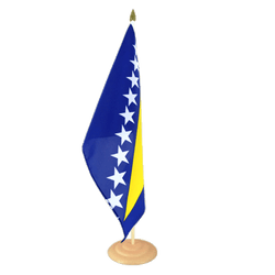"Bosnia-Herzegovina Large Table Flag 12x18"", wooden"