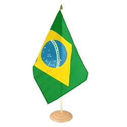 "Brazil Large Table Flag 12x18"", wooden"