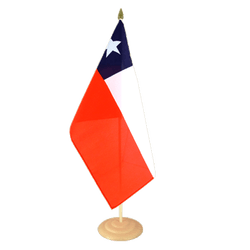 "Chile Large Table Flag 12x18"", wooden"
