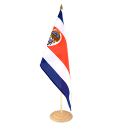 Grand drapeau de table Costa Rica en bois - 30 x 45 cm