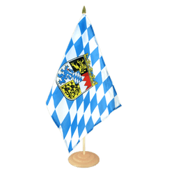 "Bavaria with crest Large Table Flag 12x18"", wooden"