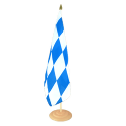 "Bavaria without crest  Large Table Flag 12x18"", wooden"