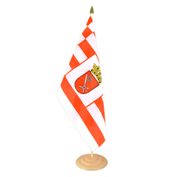 "Bremen Large Table Flag 12x18"", wooden"