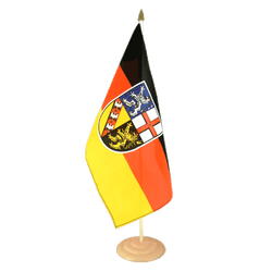 "Saarland Large Table Flag 12x18"", wooden"