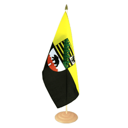 "Saxony-Anhalt Large Table Flag 12x18"", wooden"
