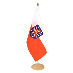 "Thuringia Large Table Flag 12x18"", wooden"