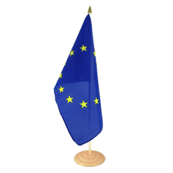 "European Union EU Large Table Flag 12x18"", wooden"