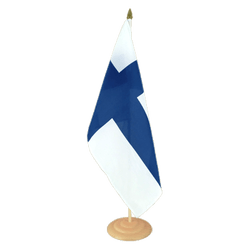 "Finland Large Table Flag 12x18"", wooden"