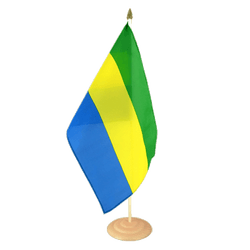 "Gabon Large Table Flag 12x18"", wooden"