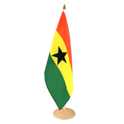 "Ghana  Large Table Flag 12x18"", wooden"