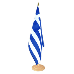 "Greece Large Table Flag 12x18"", wooden"