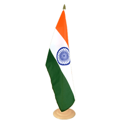 "India Large Table Flag 12x18"", wooden"
