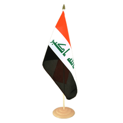 "Iraq 2009 Large Table Flag 12x18"", wooden"