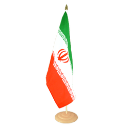 "Iran Large Table Flag 12x18"", wooden"