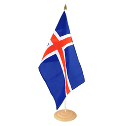 "Iceland  Large Table Flag 12x18"", wooden"