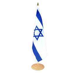 "Israel Large Table Flag 12x18"", wooden"