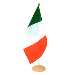"Italy Large Table Flag 12x18"", wooden"