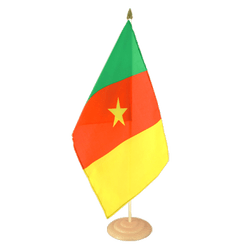 Cameroun Grand drapeau de table 30 x 45 cm, bois