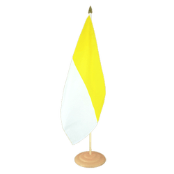 "Church yellow white Large Table Flag 12x18"", wooden"