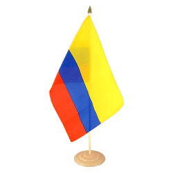 Grand drapeau de table Colombie en bois - 30 x 45 cm