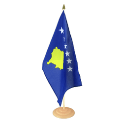 "Kosovo Large Table Flag 12x18"", wooden"