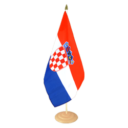 "Croatia Large Table Flag 12x18"", wooden"
