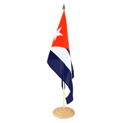 "Cuba  Large Table Flag 12x18"", wooden"