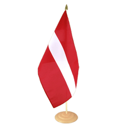 "Latvia Large Table Flag 12x18"", wooden"