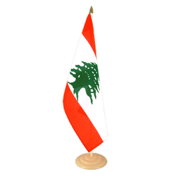 Grand drapeau de table Liban en bois 30 x 45 cm