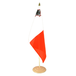 "Malta Large Table Flag 12x18"", wooden"