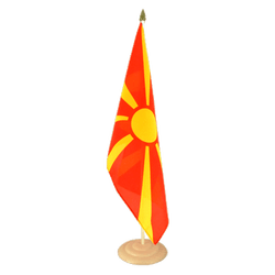 "Macedonia Large Table Flag 12x18"", wooden"
